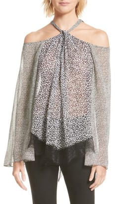 Women's Derek Lam 10 Crosby Lace Hem Cold Shoulder Halter Blouse $395 thestylecure.com