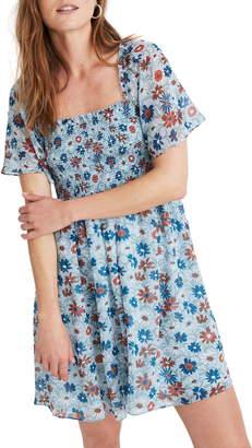 Madewell Wildflower Garden Smocked Flutter Sleeve Dress