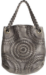 Bottega Veneta Illusion Oversize Shoulder Bag- Silver