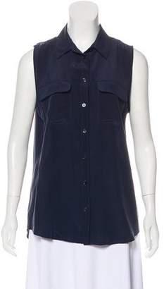 Equipment Sleeveless Knit Button-Up