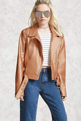 Forever 21 Sheeny Faux Leather Moto Jacket