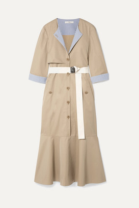 Tibi Finn Belted Striped Canvas-trimmed Cotton-twill Midi Dress - Tan