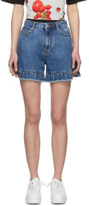 MSGM Blue Denim Ruffled Shorts