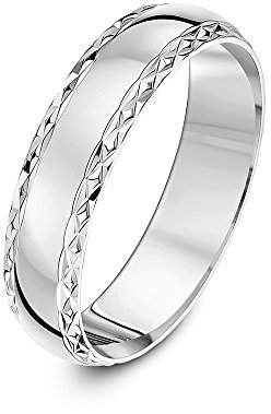 Theia 9 ct White Gold, Diamond Shaped Edge Design, Polished, 5 mm Wedding Ring - Size Q