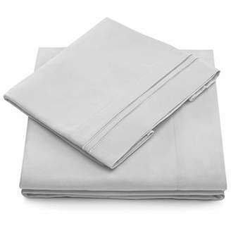 +Hotel by K-bros&Co Queen Size Bed Sheets - Silver Luxury Sheet Set - Deep Pocket - Super Soft Hotel Bedding - Cool & Wrinkle Free - 1 Fitted