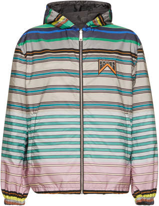 Prada Striped And Grey Nylon Reversible Hooded Jacket