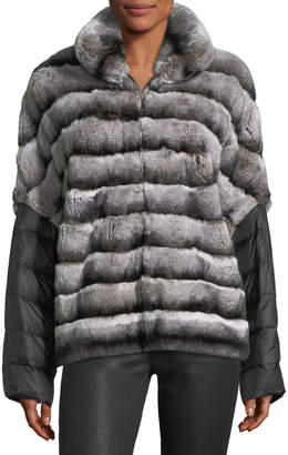 Gorski Fur Coat W/ Removable Puffer Sleeves