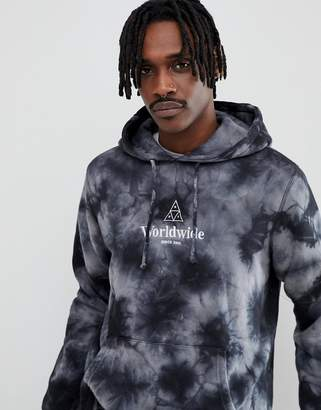 HUF worldwide tie dye hoodie with embroidered logo in black