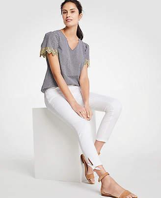 Ann Taylor Modern Ankle Tie Skinny Crop Jeans