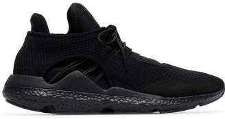 Y-3 black lace-up 'Saikou' leather sneakers