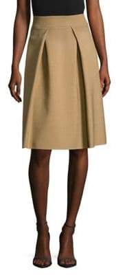 Carolina Herrera Pleated Virgin Wool Midi Skirt