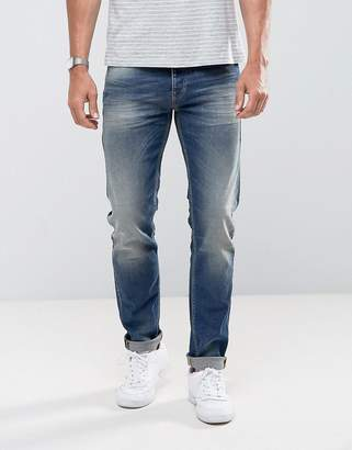 Benetton Slim Fit Jean In Mid Wash Blue With Stretch