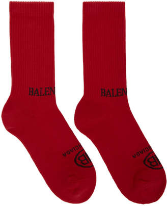 Balenciaga Red Logo Socks