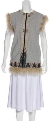 Jean Paul Gaultier Sleeveless Fur-Trimmed Vest grey Sleeveless Fur-Trimmed Vest