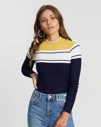 Miss Selfridge Colour-Block Rib Jumper