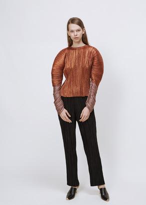 Haider Ackermann mimas orange / mimas rose long sleeve plisse top $4,545 thestylecure.com