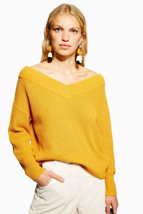 V-Neck Bardot Jumper With Cashmere