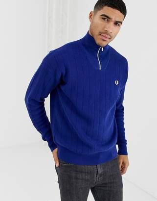 Fred Perry half zip knitted sweater in blue