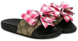 Gucci Kids GG Supreme bow sandals