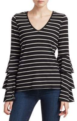 Scripted Striped Bell Sleeve T-Shirt