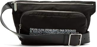 Calvin Klein 205w39nyc - Embroidered Leather Trimmed Shell Belt Bag - Mens - Black White