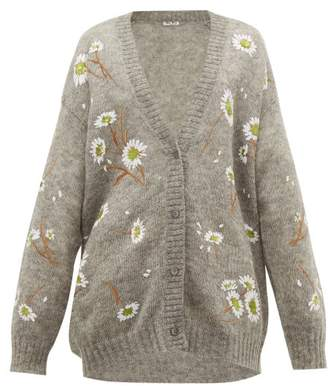 Miu Miu Oversized Sequin Embroidered Mohair Blend Cardigan - Womens - Grey Multi