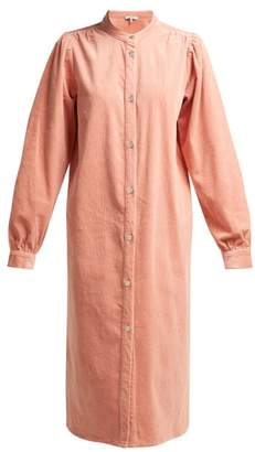 Ganni Ridgewood Corduroy Midi Shirtdress - Womens - Light Pink