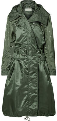 Chloé Oversized Hooded Embroidered Shell Coat - Green