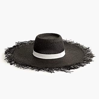 J.Crew Wide brim straw hat with fringe