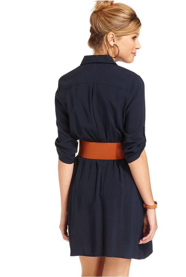 Amy Byer Juniors Dress, Three-Quarter Sleeve Belted Shirtdress
