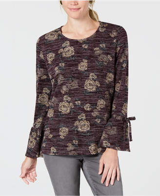 Style&Co. Style & Co Petite Scoop-Neck Lantern-Tie Long Sleeve Top