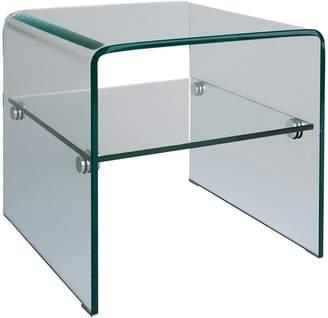 Gala Tempe glass side table with a shelf
