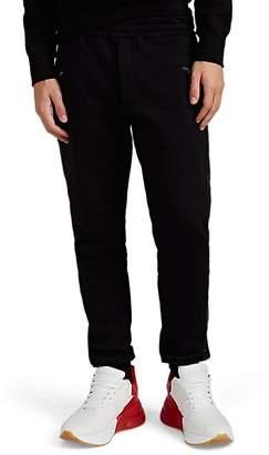 Alexander McQueen Men's Leather-Trimmed Cotton Fleece Jogger Pants - Black