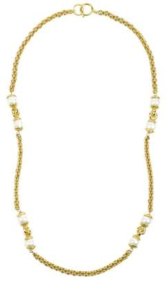 Chanel Gold Tone Metal Simulated Glass Pearl Single Strand Long Chain Necklace