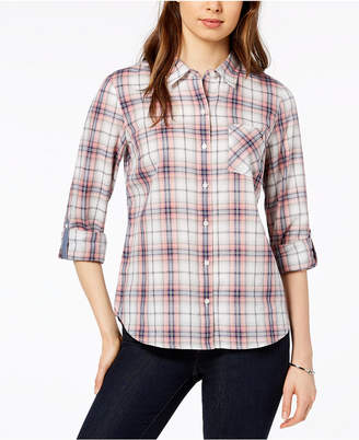 Tommy Hilfiger Cotton Printed Roll-Tab Utility Shirt, Created for Macy's