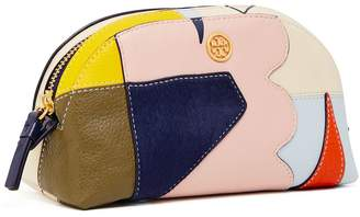 Tory Burch Robinson Mixed-Materials Cosmetic Case