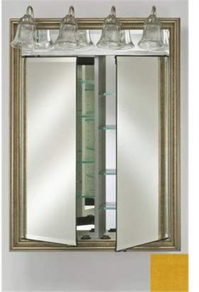 Afina Corporation DD-LT2434RCOLYL 24 in.x 34 in.Recessed Double Door Cabinet with Traditional Lights - Colorgrain Yellow