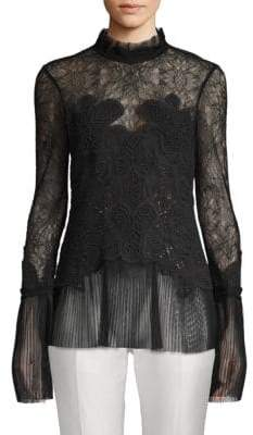 Jonathan Simkhai Lace Pleated Victorian Blouse