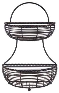 Mikasa Handcrafted Wrought-Iron Two-Tier Basket