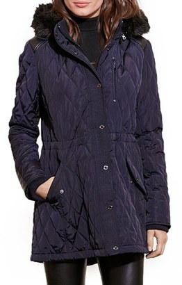 Women's Lauren Ralph Lauren Quilted Anorak With Faux Fur Trim $230 thestylecure.com
