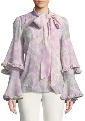 Chloé Dotty Flowers-Print Necktie Ruffle-Sleeve Blouse