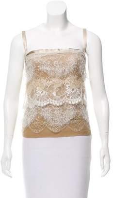Dolce & Gabbana Lace-Tiered Silk Top
