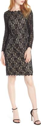 Eliza J Embroidered Lace Sheath