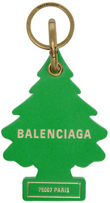 Green Leather Tree Keychain