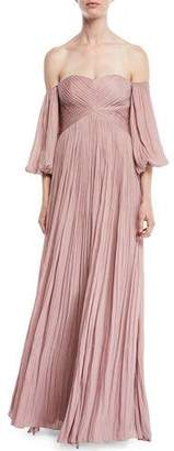 Halston Off-the-Shoulder Pleated Gown