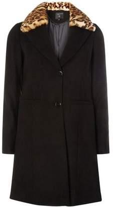 Dorothy Perkins Womens Black Faux Fur Collar Coat