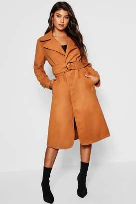 boohoo Gold Buckle Belted Wool Look Coat