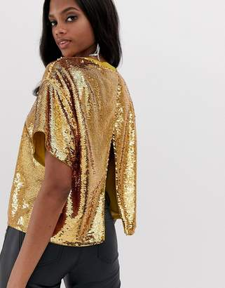 Asos Design DESIGN embellished sequin tshirt with open back