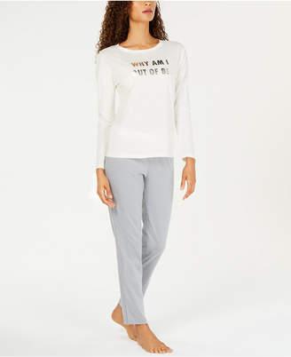 Jenni by Jennifer Moore Cotton Graphic Top & Pajama Pants Set