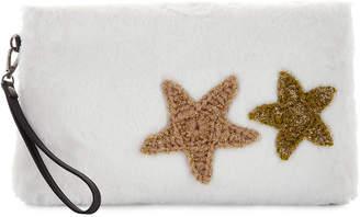 Evelyn K Star Patch Faux-Fur Clutch Bag, Ivory
